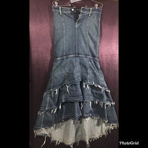 7 for all mankind distressed tiered jean skirt 25